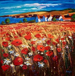 Poppies In The Breeze, St Abbs by Lynn Rodgie - Original Painting on Stretched Canvas sized 30x30 inches. Available from Whitewall Galleries
