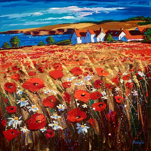 Poppies In The Breeze, St Abbs by Lynn Rodgie - Original Painting on Stretched Canvas